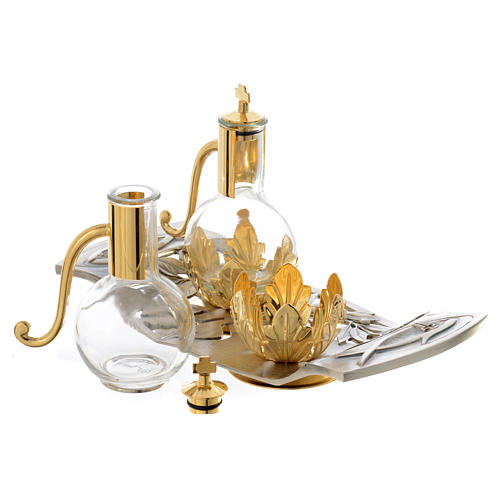 Cruet set with pewter tray with leaves and fish 2