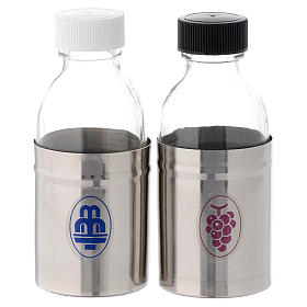 Church cruets with hermetic lid, water and wine symbols 125 ml s1