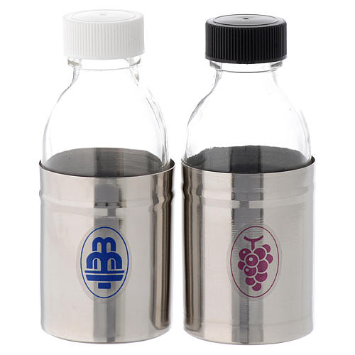 Church cruets with hermetic lid, water and wine symbols 125 ml 1
