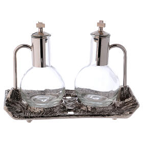 Cruet set with melted cast nickel tray s1