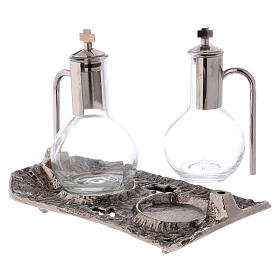 Cruet set with melted cast nickel tray s2