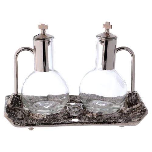 Cruet set with melted cast nickel tray 1