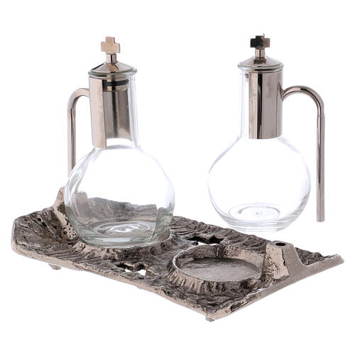 Cruet set with melted cast nickel tray 2