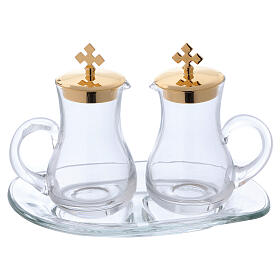Glass cruet set with tray s1