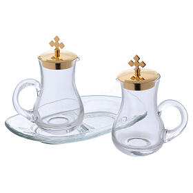 Glass cruet set with tray s2