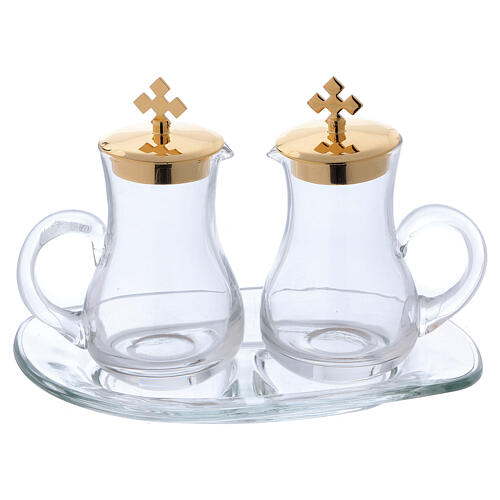 Glass cruet set with tray 1