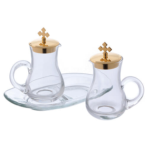 Glass cruet set with tray 2