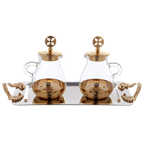 Cruets in glass Bologna model, with golden brass plate 1