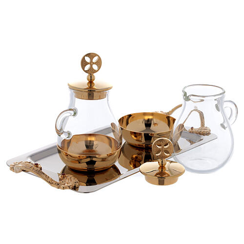 Cruets in glass Bologna model, with golden brass plate 2