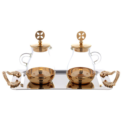 Cruets in glass Bologna model, with golden brass plate 3