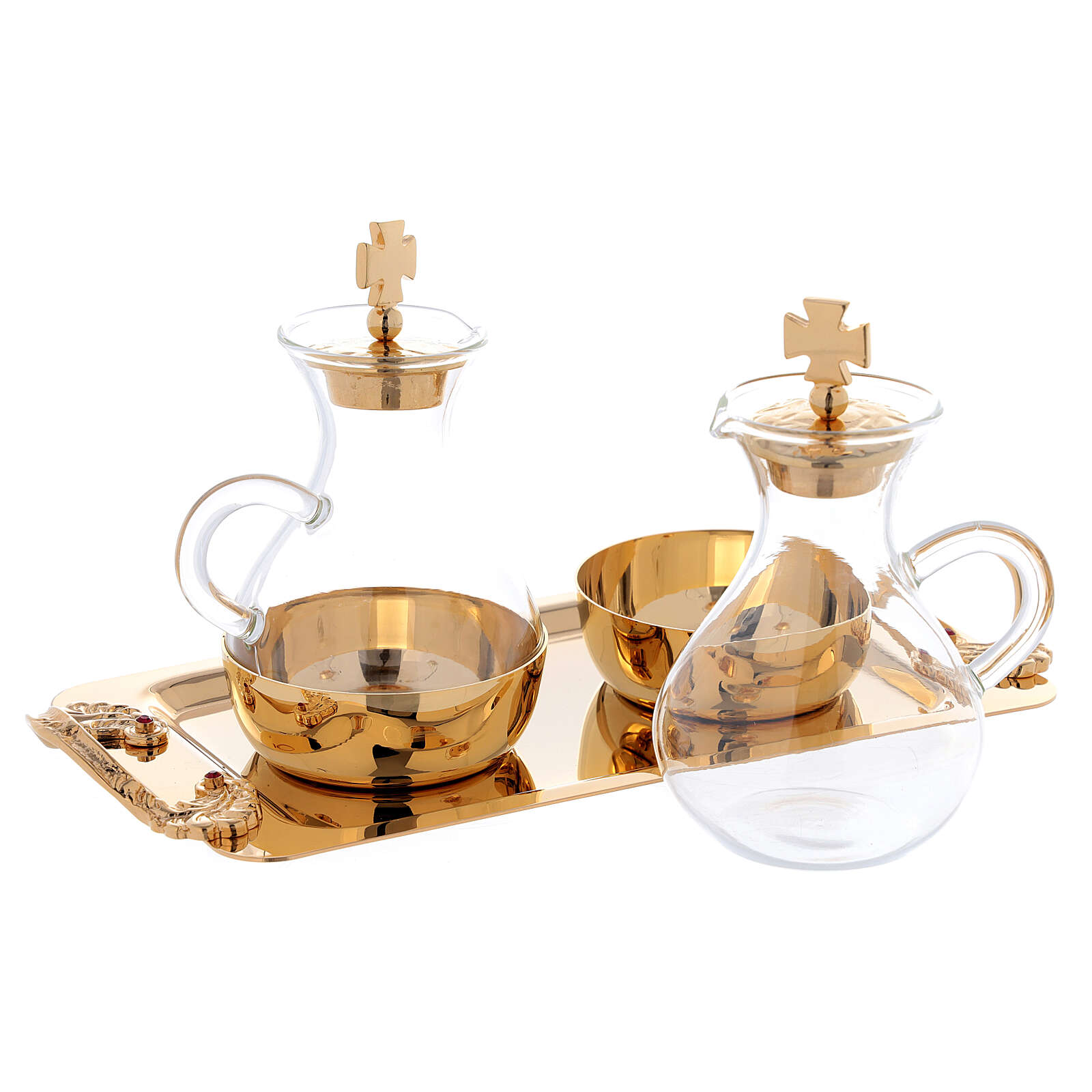 Cruets in glass Roma model, with golden brass plate 4