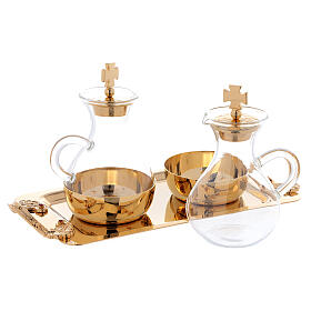 Cruets in glass Roma model, with golden brass plate s2