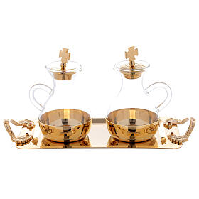 Cruets in glass Roma model, with golden brass plate s3