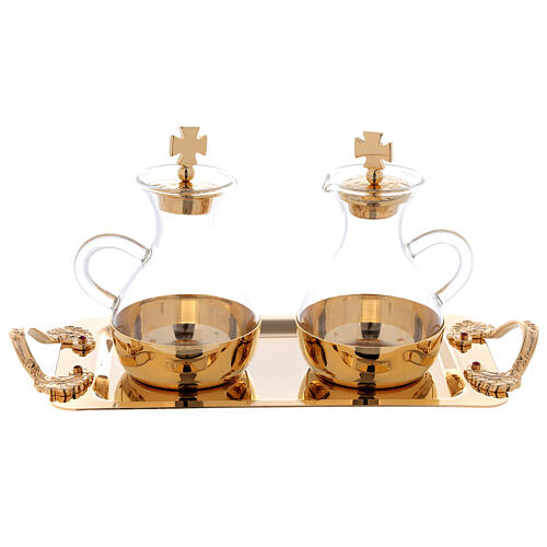 Cruets in glass Roma model, with golden brass plate 1