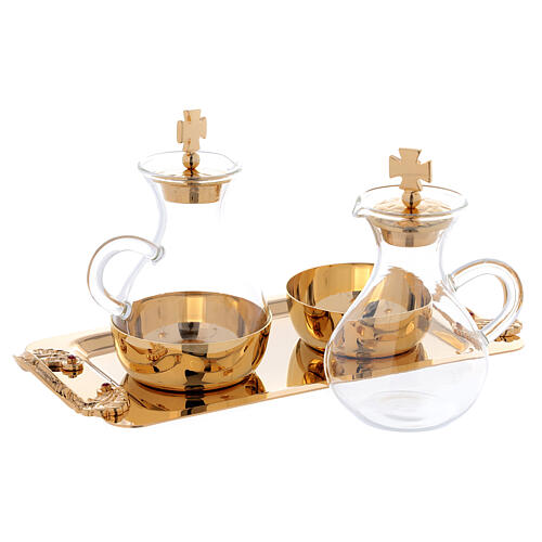 Cruets in glass Roma model, with golden brass plate 2