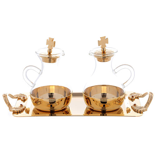 Cruets in glass Roma model, with golden brass plate 3