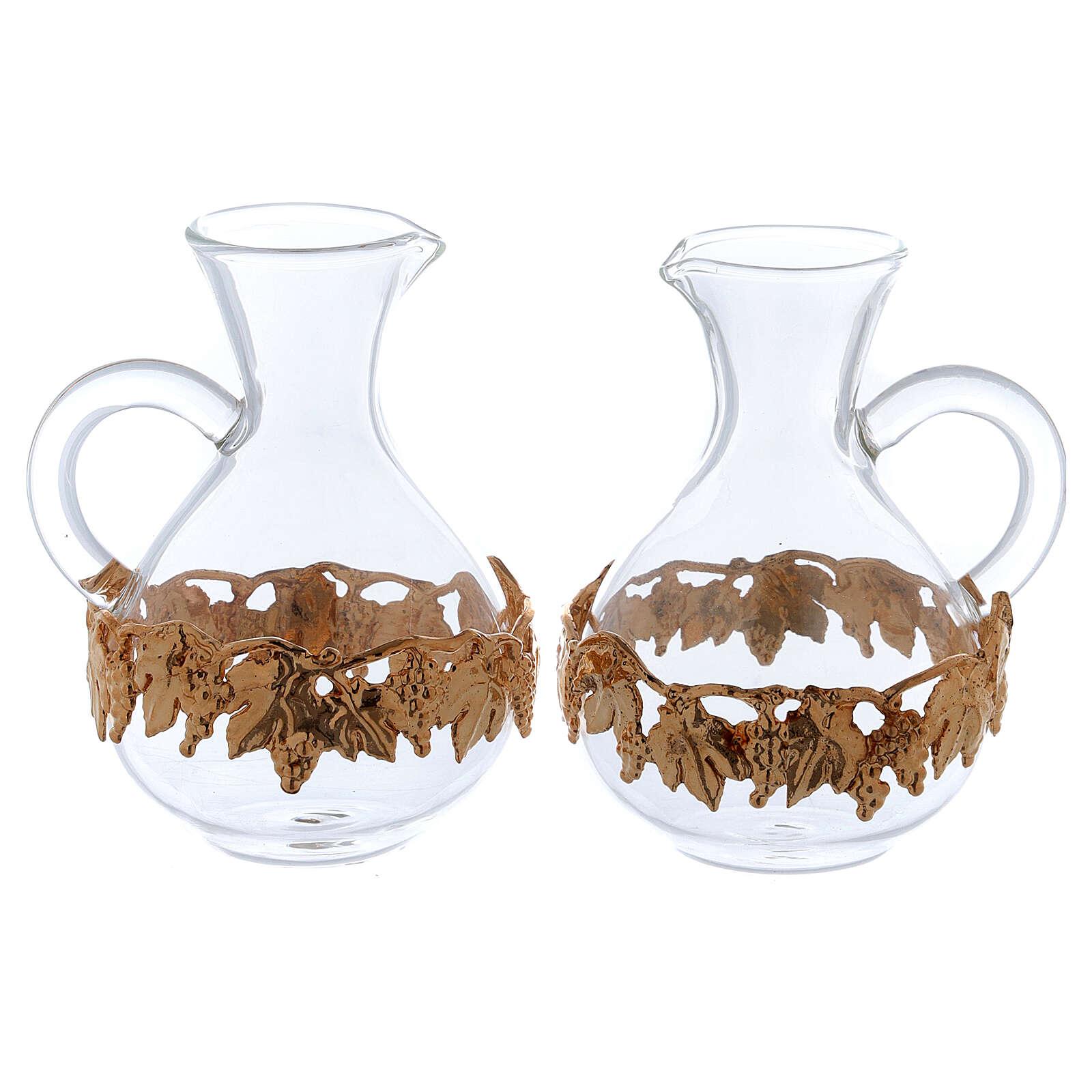 Ewer in glass and golden zamak 140 ml, 2 pcs 4