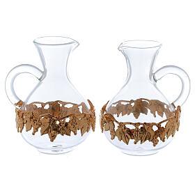 Ewer in glass and golden zamak 140 ml, 2 pcs s1