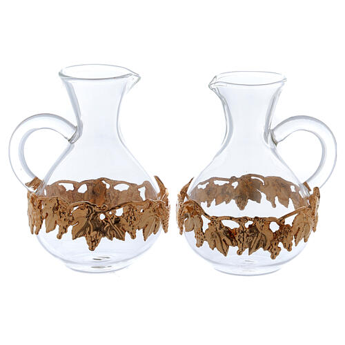 Ewer in glass and golden zamak 140 ml, 2 pcs 1