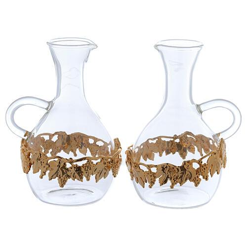 Ewer in glass and golden zamak Venezia model, 2 pcs 1