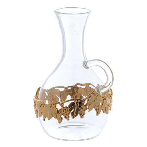 Ewer in glass and golden zamak Venezia model, 2 pcs 2