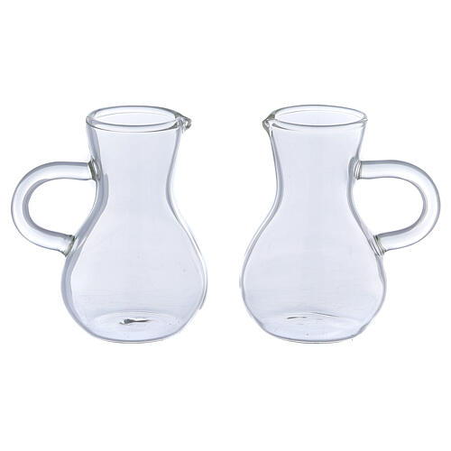 Ewer in glass thick handles 75 ml, 2 pcs 1