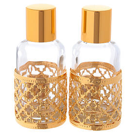 Bottles in glass with grapefruit decoration, golden 30 ml s5