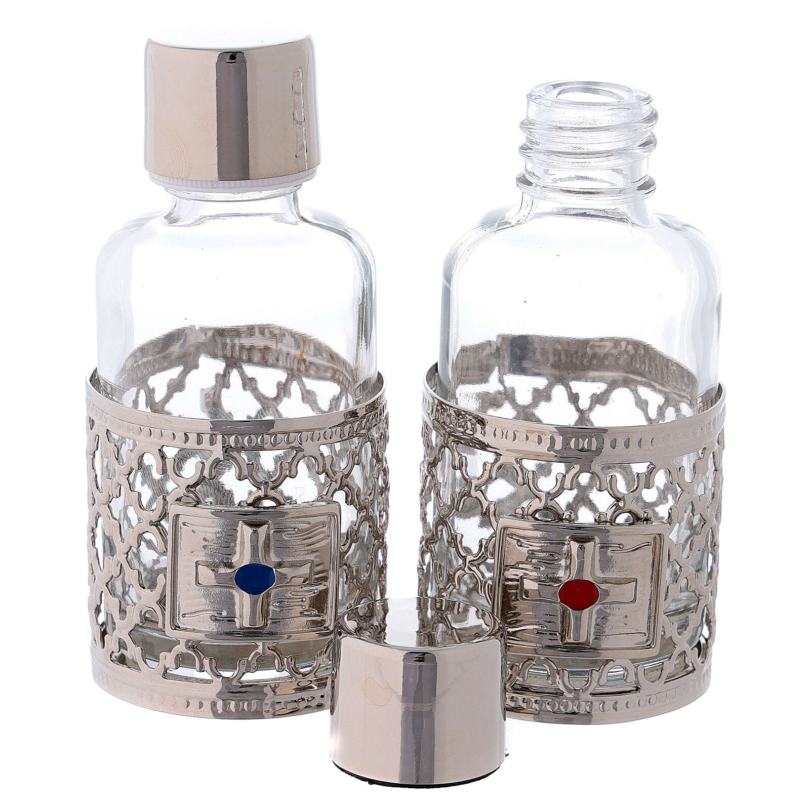 Burettes de 30 ml pour eau et vin avec collier argenté 4