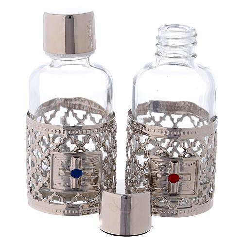 Burettes de 30 ml pour eau et vin avec collier argenté 2