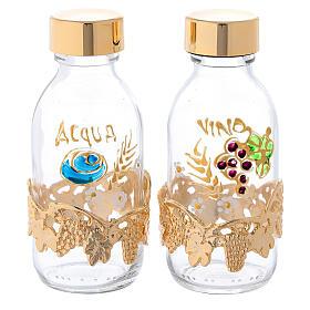 Botellas de 125 ml para agua y vino con motivo en forma de uva dorado s1