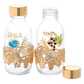 Botellas de 125 ml para agua y vino con motivo en forma de uva dorado s2
