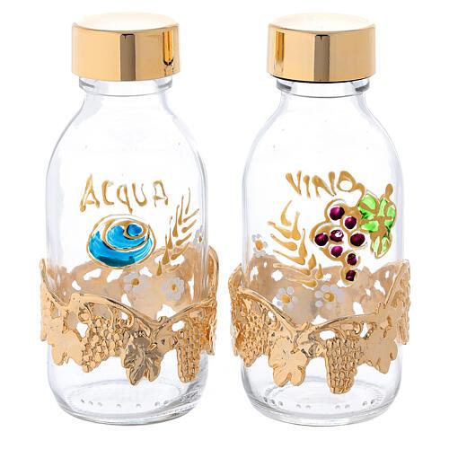 Botellas de 125 ml para agua y vino con motivo en forma de uva dorado 1