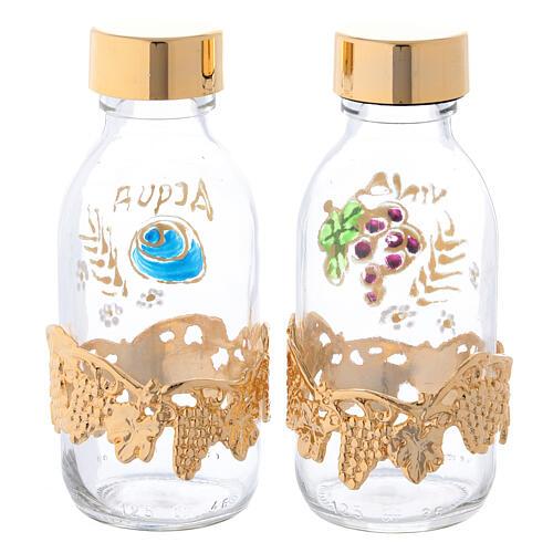 Botellas de 125 ml para agua y vino con motivo en forma de uva dorado 4