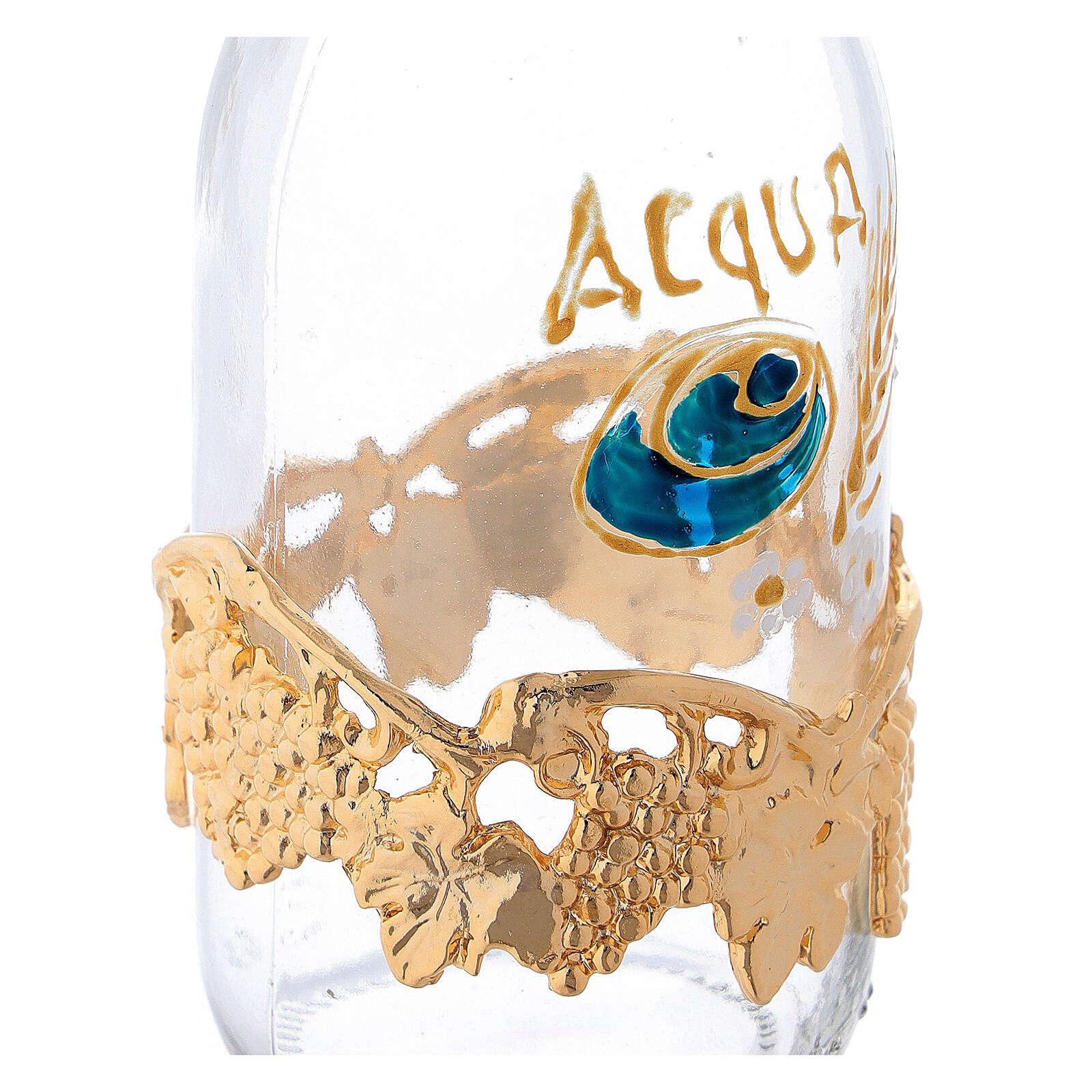 Burettes de 125 ml eau et vin avec collier raisin doré 4