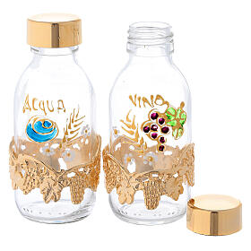Burettes de 125 ml eau et vin avec collier raisin doré s2
