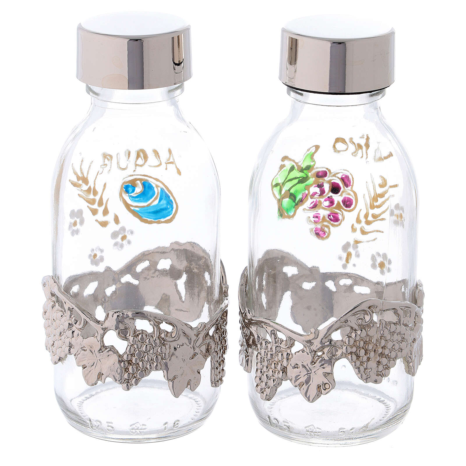 Bottles in glass with grapefruit decoration, silver tone 125 ml 4