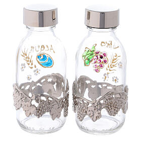 Bottles in glass with grapefruit decoration, silver tone 125 ml s4