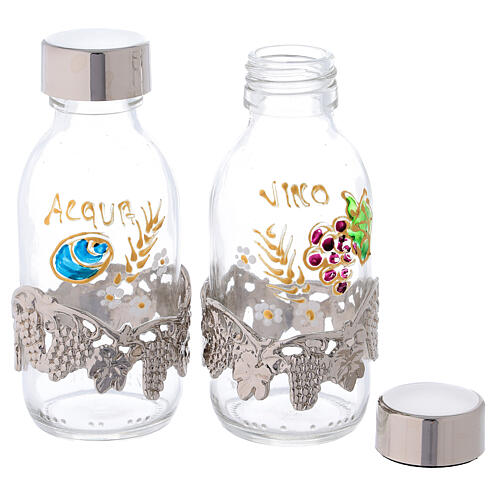 Bottles in glass with grapefruit decoration, silver tone 125 ml 2