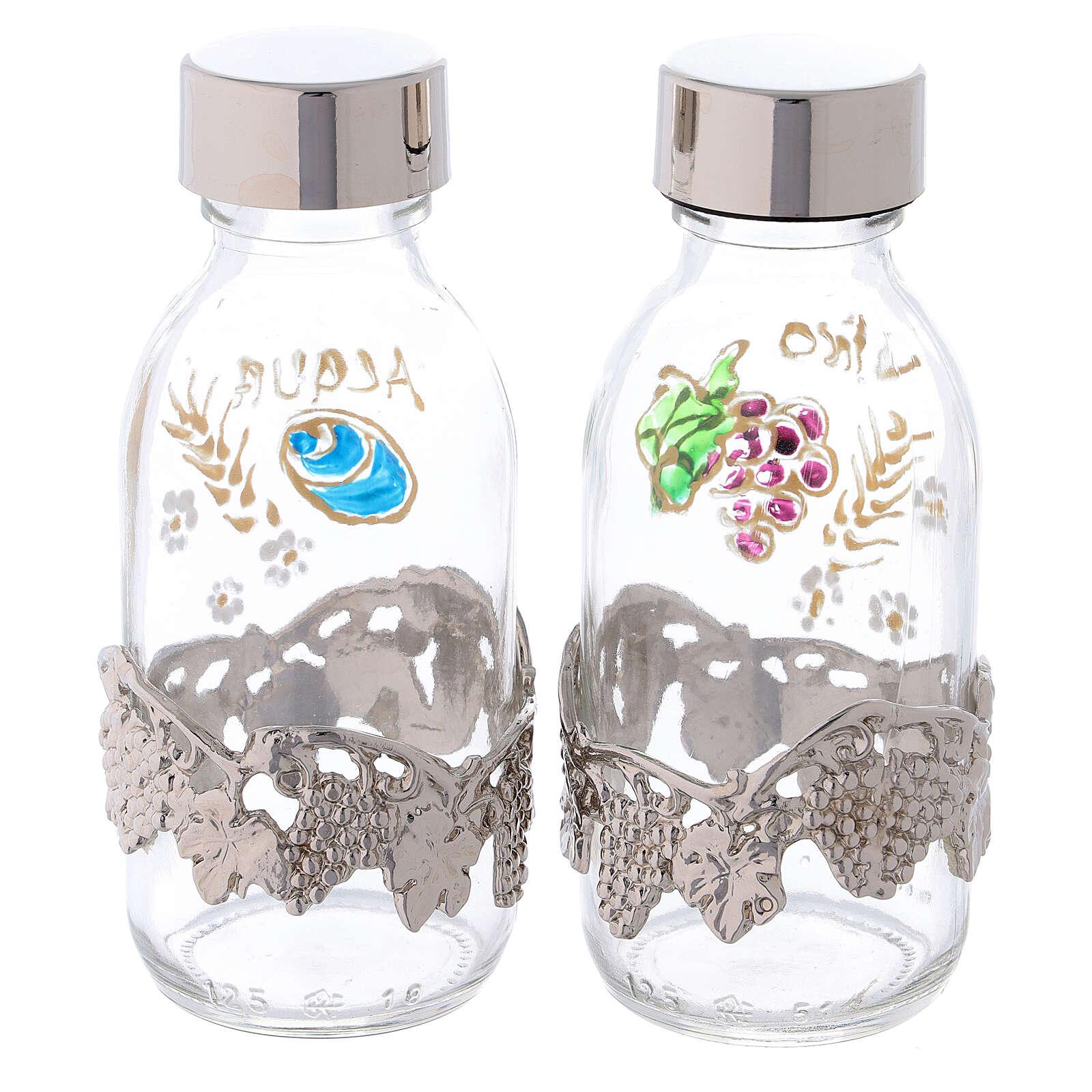 Botellas de 125 ml agua y vino con motivo en forma de uva plateado 4
