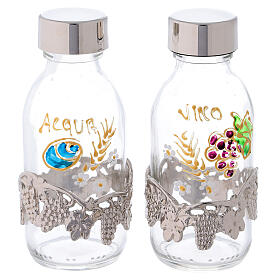 Botellas de 125 ml agua y vino con motivo en forma de uva plateado s1