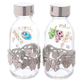 Botellas de 125 ml agua y vino con motivo en forma de uva plateado s4