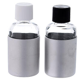 Glass cruets of 30 ml with aluminium shell s5