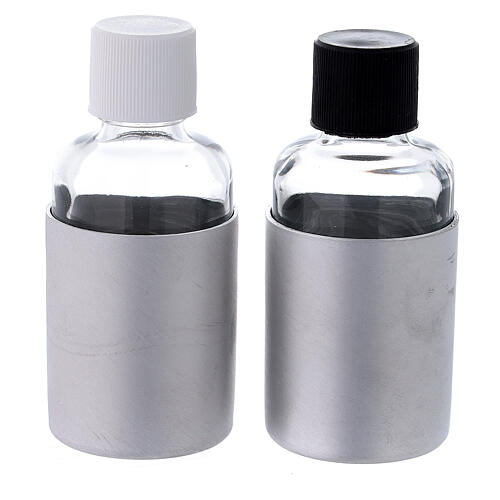 Glass cruets of 30 ml with aluminium shell 5