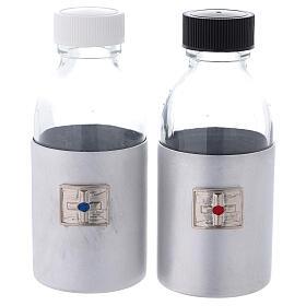 Botellas 125 ml de vidrio con estuche de cuero ecológico negro s1