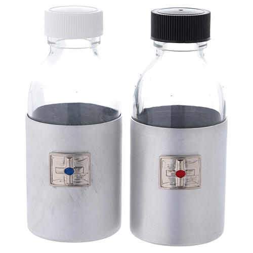 Botellas 125 ml de vidrio con estuche de cuero ecológico negro 1