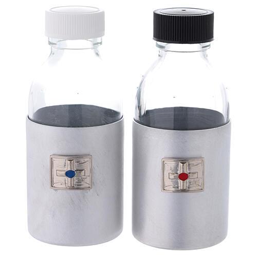 Burettes 125 ml en verre avec étui en cuir synthétique noir 1