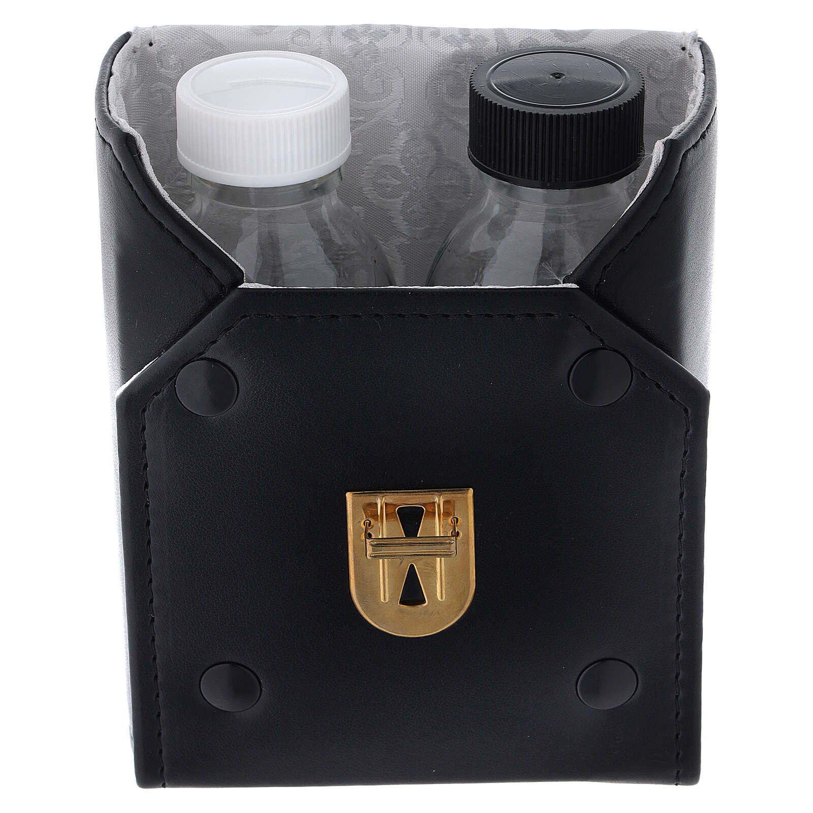 Glass cruets of 125 ml with artificial black leather bag 4
