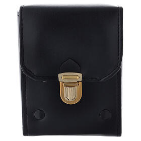Glass cruets of 125 ml with artificial black leather bag s3