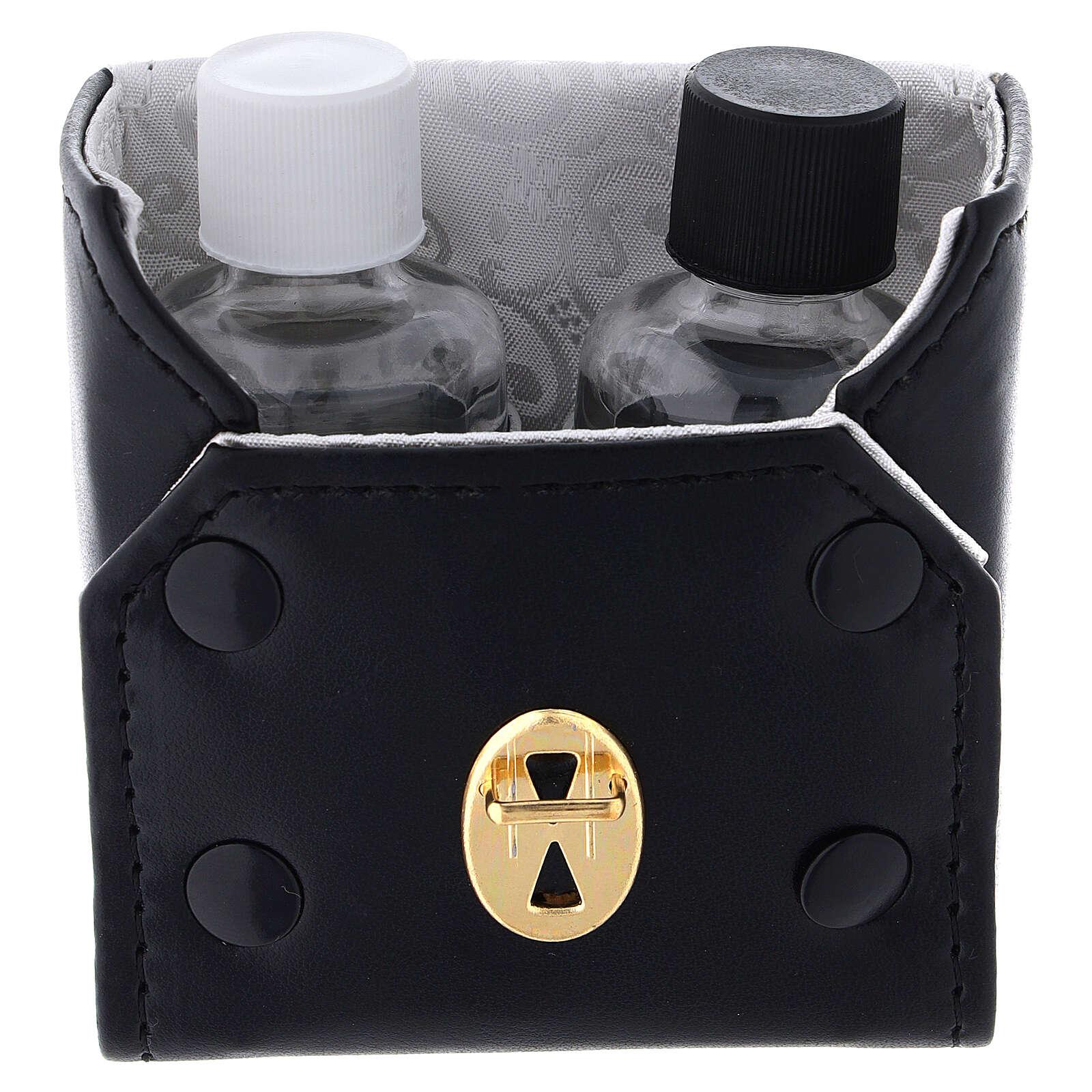 Botellas 30 ml de vidrio con estuche de cuero ecológico negro 4