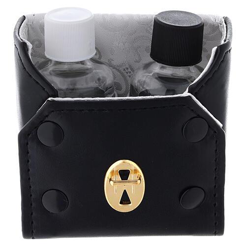 Botellas 30 ml de vidrio con estuche de cuero ecológico negro 2